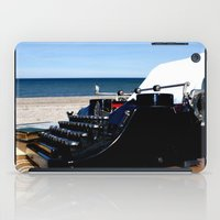 writer iPad Cases featuring Writer at the Beach by KarenHarveyCox