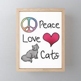 Peace Love Cats Framed Mini Art Print