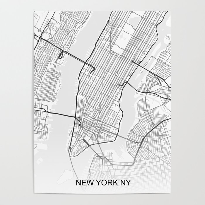 Map Of New York Poster.New York Ny Map White Poster By Ihabdesign