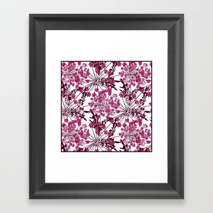 Laced crimson flowers on a white background. Gerahmter Kunstdruck