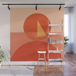 Abstraction_Sunset_Ocean_Sailing_Minimalism_001 Wall Mural