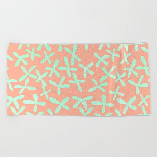 Sweet Life Firefly Peach Coral + Mint Meringue Beach Towel