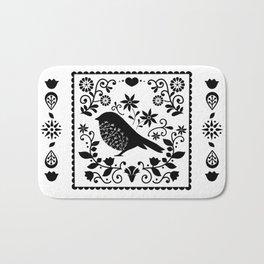 Woodland Folk Black And White Blue Bird Tile Bath Mat
