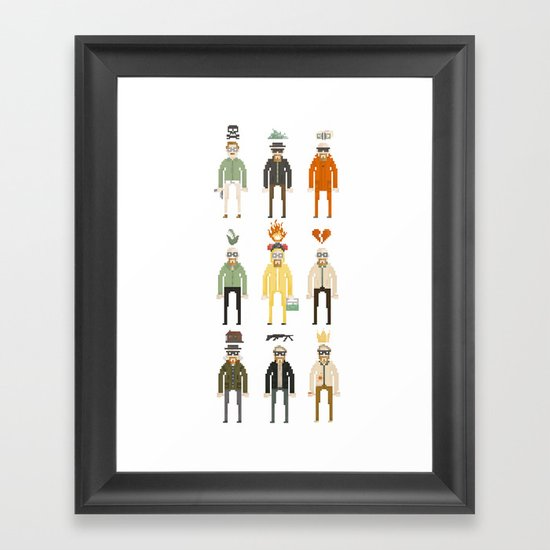 Walter White Pixelart Transformation- Breaking Bad Framed Art Print