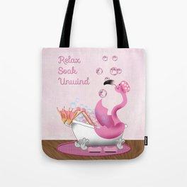 Flamingo Enjoying the Bath Tote Bag