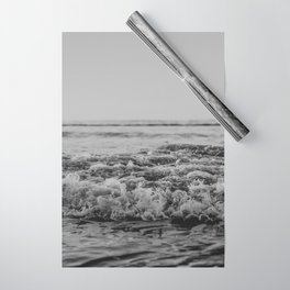 Black and White Pacific Ocean Waves Wrapping Paper