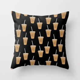 Iced Coffees pattern - food pattern, cute food, iced coffee lover Throw Pillow