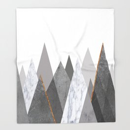 Marble Gray Copper Black and White Mountains Throw Blanket