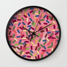 Pink Donut Glaze with Sprinkles Wall Clock
