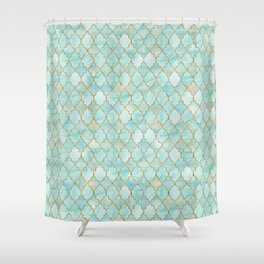 Luxury Aqua and Gold oriental pattern Shower Curtain