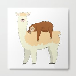 Cute Llama with a Sleeping Sloth Gift Metal Print
