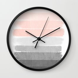 Color story millennial pink and grey transition brushstrokes modern canvas art decor dorm college Wall Clock