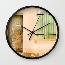 Green wooden door and shuttered window Wall Clock