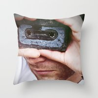 cassette Throw Pillows featuring Cassette by 60infinito