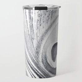 Black and White Peacock Feather Photography, Grey Nature, Neutral Gray Feathers Travel Mug