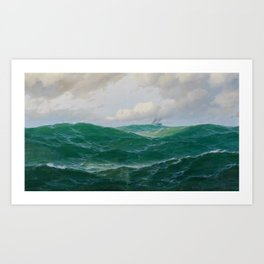 Vintage Ocean Oil Painting with Ship and Waves Art Print