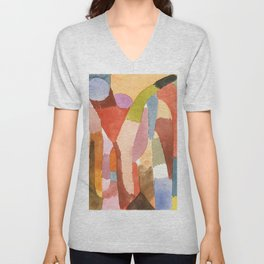 """Paul Klee """"Movement of Vaulted Chambers 1915"""" Unisex V-Neck"""