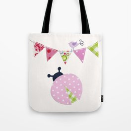 Ladybug with party flags Tote Bag