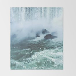 From below where all the water falls, Niagara 03 Throw Blanket