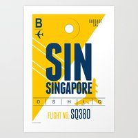 singapore Art Prints featuring Singapore Tag by Studio Tesouro