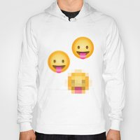 emoji Hoodies featuring Pixelated Emoji by Krista Jaworski