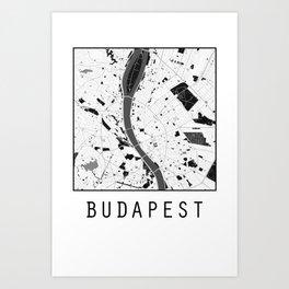 Budapest, Hungary, city map, Black on White design Art Print