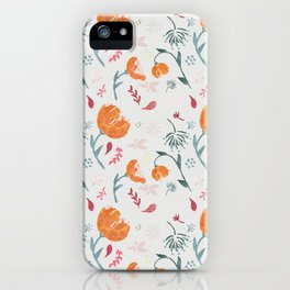 Floral tossed pattern iPhone Case