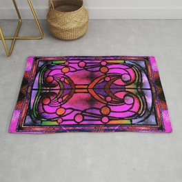 Pink and Purple Stained Glass Victorian Design Rug