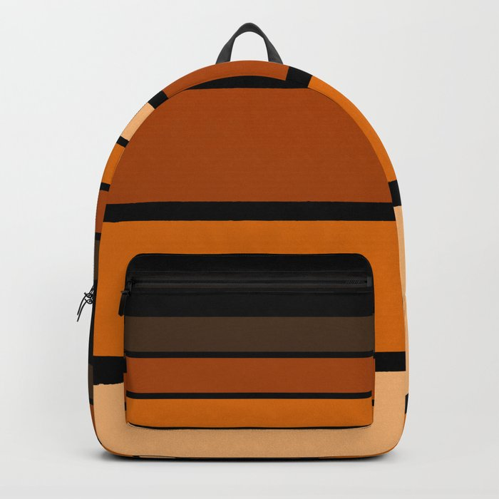 Black and yellow , brown and orange striped pattern . Backpack
