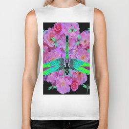 EMERALD DRAGONFLIES  PINK ROSES  BLACK COLOR Biker Tank