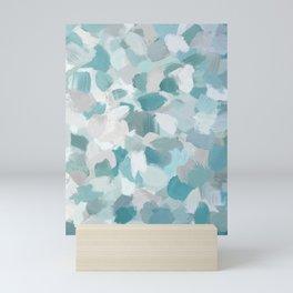 Mint Seafoam Green Turquoise Blue Sea Beach Glass Coastal Abstract Nature Ocean Painting Art Print Wall Decor  Mini Art Print