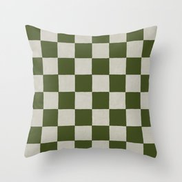 checkerboard hand-painted-olive Throw Pillow