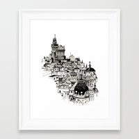 madrid Framed Art Prints featuring Madrid by Justine Lecouffe
