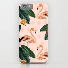 Flamingos & Tangerines Pattern iPhone Case
