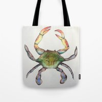crab Tote Bags featuring Crab by Sara Katy