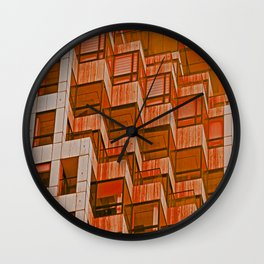Architectural Abstract in Red Wall Clock