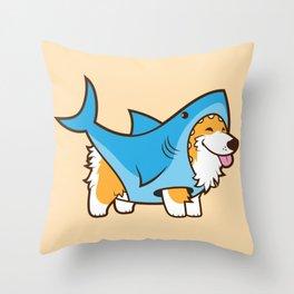 Corgi in a Shark Suit Throw Pillow