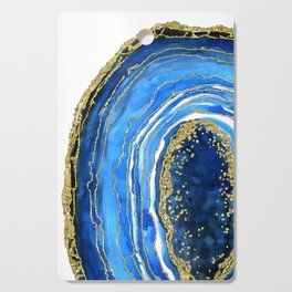 Cobalt blue and gold geode in watercolor (2) Cutting Board