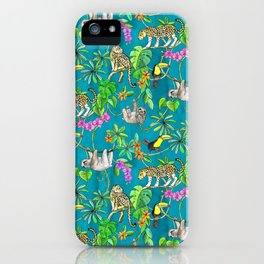 Rainforest Friends - watercolor animals on textured teal iPhone Case