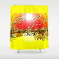 dune Shower Curtains featuring Sun  Dune by JT Digital Art