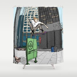 Ollie Over Manhattan Park Shower Curtain