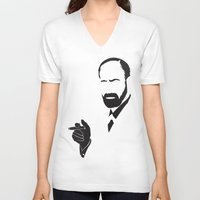 freud V-neck T-shirts featuring Faceless Smokin Freud by StayDry