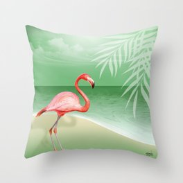 FLAMINGO BEACH | jade Throw Pillow