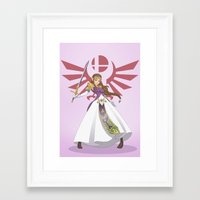 smash bros Framed Art Prints featuring Smash Bros - Zelda by Emm Gee Art