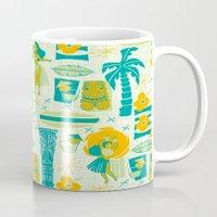 mid century Mugs featuring Mid-Century Tiki by Aimee Steinberger