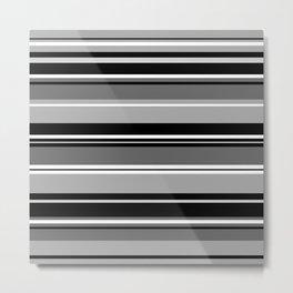 Mixed Striped Design Monochrome Metal Print