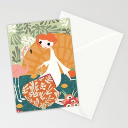 Girl with flamingo and Henri Matisse inspired decoration, vector illustration Stationery Cards