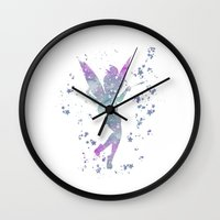 tinker bell Wall Clocks featuring Tinker Bell Disneys by Carma Zoe