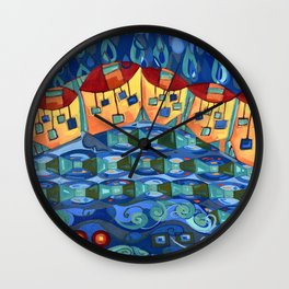 Precipitation to Subsurface Flow, Abstract Rain Houses Water Cycle Painting Wall Clock