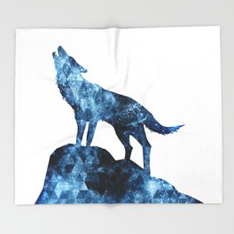 Howling Wolf blue sparkly smoke silhouette Throw Blanket